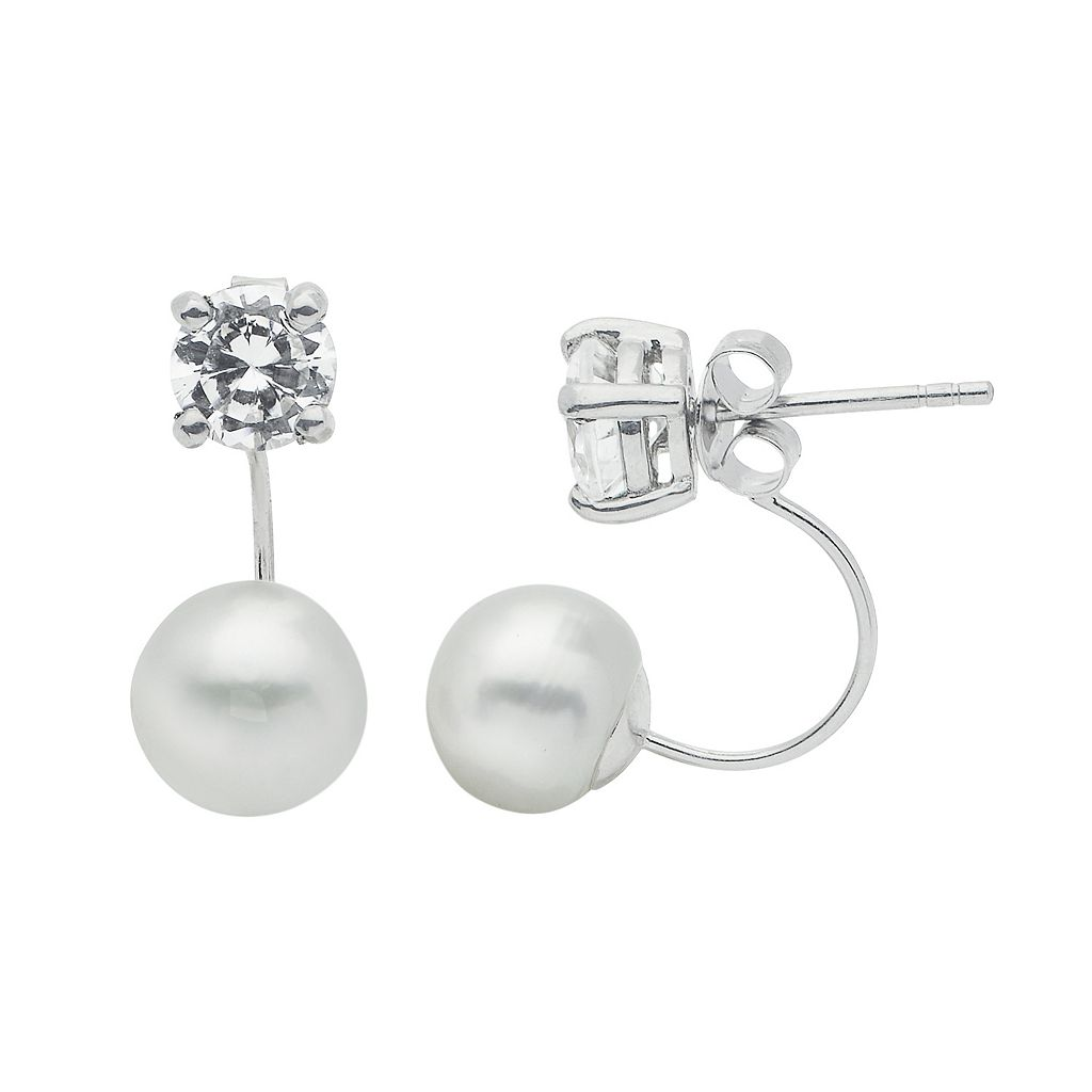 PearLustre by Imperial Sterling Silver Freshwater Cultured Pearl Front-Back Drop Earrings