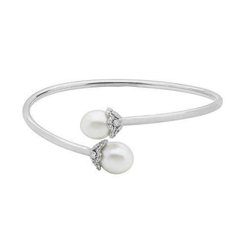 PearLustre by Imperial Sterling Silver Freshwater Cultured Pearl Bypass Bangle Bracelet