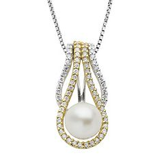 PearLustre by Imperial Two Tone Sterling Silver Freshwater Cultured Pearl Pendant