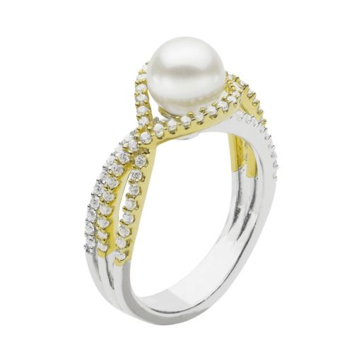 PearLustre by Imperial Two Tone Sterling Silver Freshwater Cultured Pearl Ring
