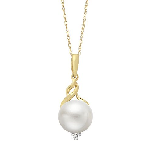 PearLustre by Imperial 10k Gold Freshwater Cultured Pearl & Diamond Accent Pendant