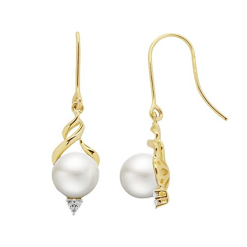 PearLustre by Imperial 10k Gold Freshwater Cultured Pearl & Diamond Accent Drop Earrings
