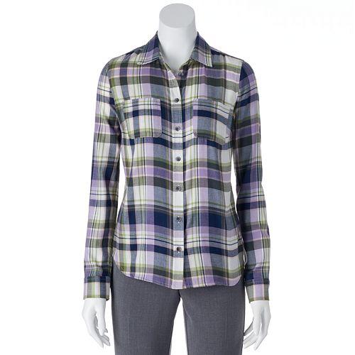 SONOMA Goods for Life™ Plaid Flannel Shirt - Women's
