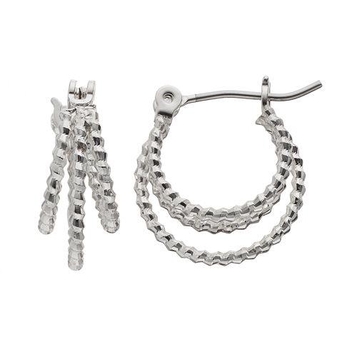 Napier Textured Triple Hoop Earrings