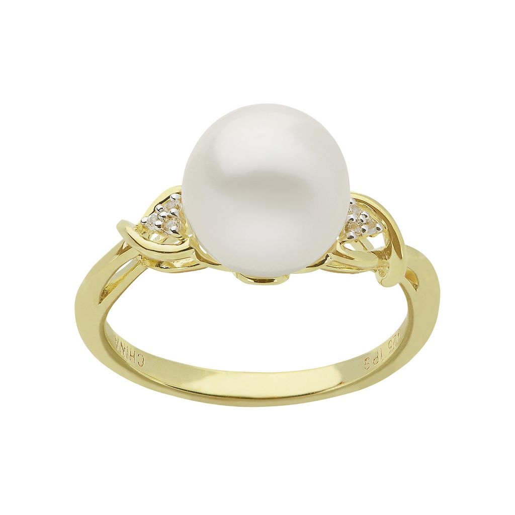 PearLustre by Imperial 14k Gold Over Silver Freshwater Cultured Pearl Ring
