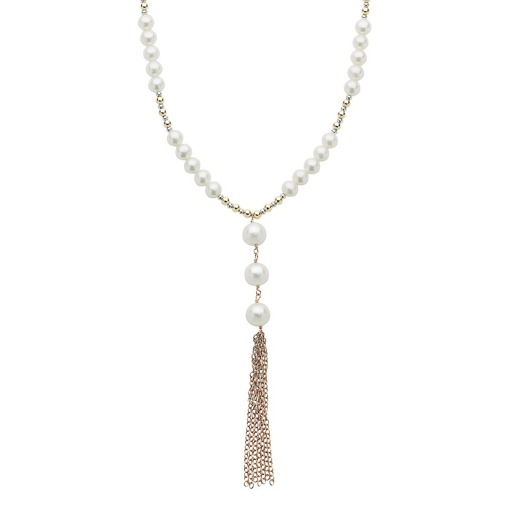 PearLustre by Imperial 14k Rose Gold Filled Freshwater Cultured Pearl Tassel Y Necklace