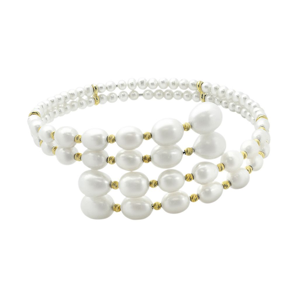 PearLustre by Imperial 14k Gold Over Silver Freshwater Cultured Pearl Bypass Cuff Bracelet