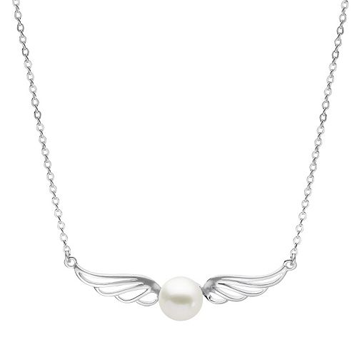 PearLustre by Imperial Sterling Silver Freshwater Cultured Pearl Wing Necklace