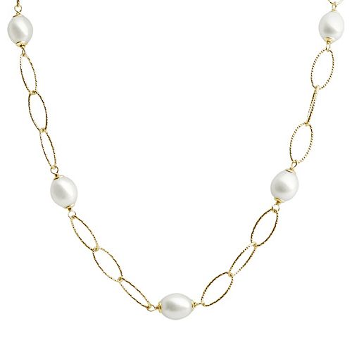 PearLustre by Imperial 14k Gold Over Silver Freshwater Cultured Pearl Station Necklace