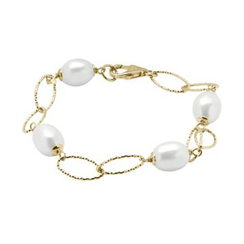 PearLustre by Imperial 14k Gold Over Silver Freshwater Cultured Pearl Station Bracelet