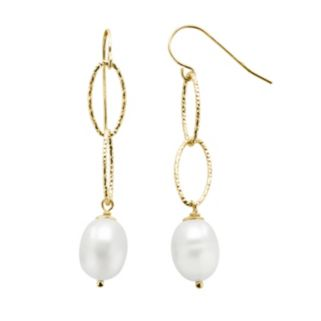 PearLustre by Imperial 14k Gold Over Silver Freshwater Cultured Pearl Drop Earrings