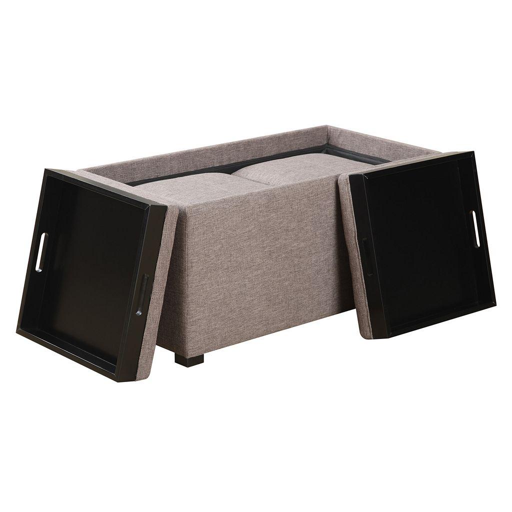 Simpli Home Avalon 5-Piece Rectangular Storage Ottoman