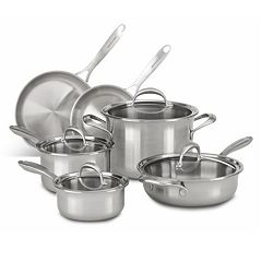 KitchenAid KC2CS10ST 10 pc 5-Ply Copper Clad Stainless Steel Cookware Set
