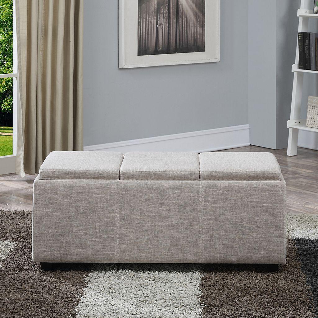 Simpli Home Avalon Extra Large Rectangular Storage Ottoman