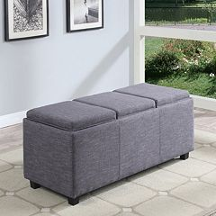 Simpli Home Avalon Rectangular Upholstered Storage Ottoman