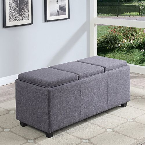 Simpli Home Avalon Rectangular Upholstered Storage Ottoman