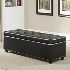 Simpli Home Hamilton Faux-Leather Storage Bench by