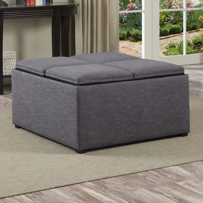 Simpli Home Avalon Coffee Table Storage Ottoman, Grey