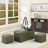 Simpli Home Avalon Faux-Leather Rectangular Storage Ottoman 5-piece Set