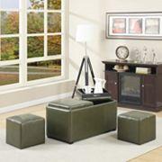 Simpli Home Avalon Faux-Leather 5 pc Rectangular Storage Ottoman