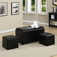 Simpli Home Avalon Faux-Leather 5 pc Rectangular Storage Ottoman