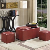 Simpli Home Avalon Faux-Leather 5-Piece Rectangular Storage Ottoman