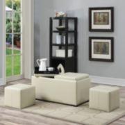 Simpli Home Avalon Faux-Leather 5-Piece Rectangular Storage Ottoman
