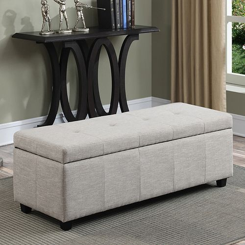 Simpli Home Castleford Large Rectangular Storage Ottoman Bench - Home Castleford Large Rectangular Storage Ottoman Bench