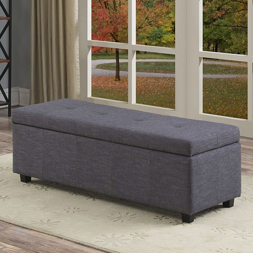 Simpli Home Castleford Large Rectangular Storage Ottoman Bench