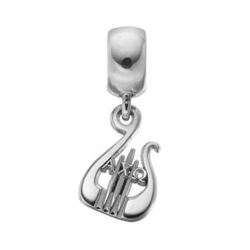 LogoArt Sterling Silver Alpha Chi Omega Sorority Lyre Charm