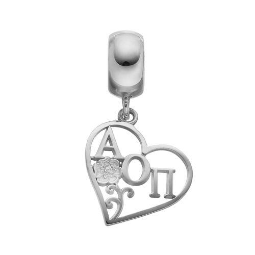 LogoArt Sterling Silver Alpha Omicron Pi Sorority Heart Charm