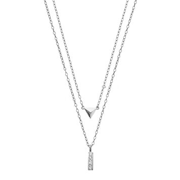 Crystal Sterling Silver Stick & Pyramid Necklace Set