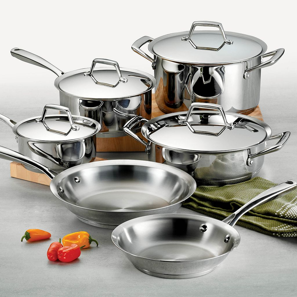 Tramontina Gourmet Prima Tri-Ply Stainless Steel 10-pc. Cookware Set