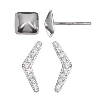 Cubic Zirconia Sterling Silver V & Pyramid Stud Earring Set