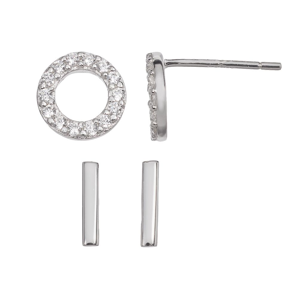 Cubic Zirconia Sterling Silver Circle & Stick Stud Earring Set