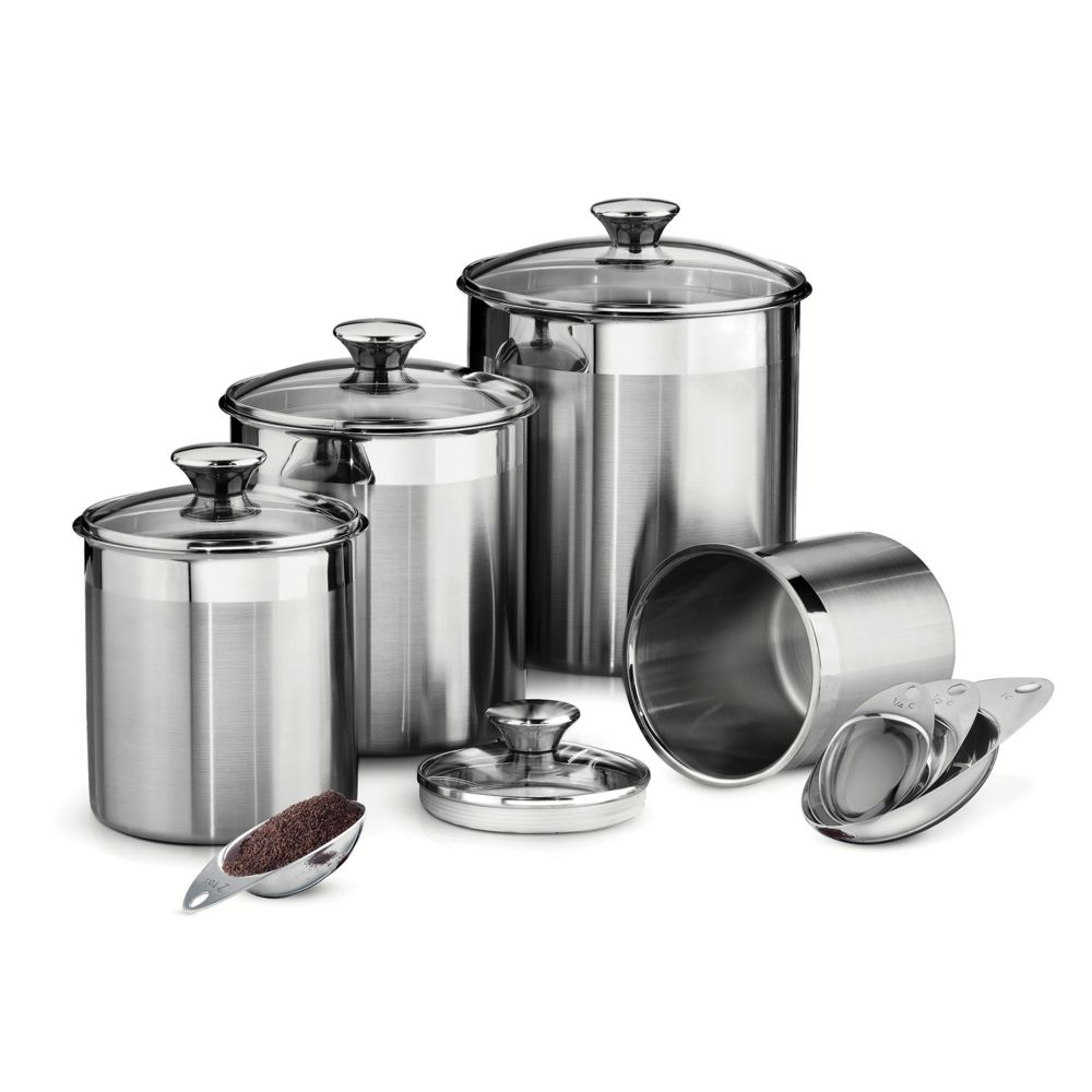 gourmet 8 pc stainless steel kitchen canister set stainless steel kitchen canister set