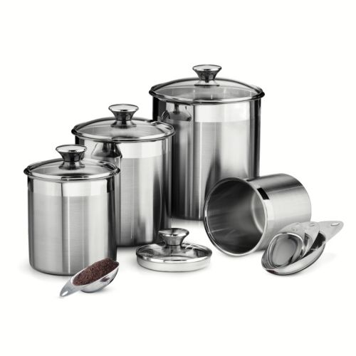 tramontina gourmet 8 pc stainless steel kitchen canister set 2016 new stainless steel kitchen storage canister sets
