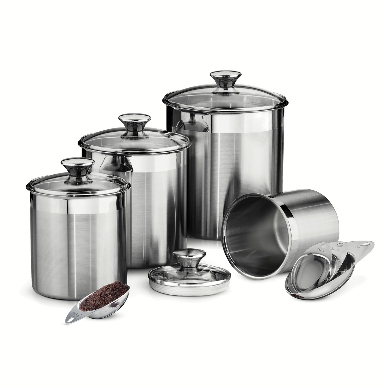 Merveilleux Stainless Steel Kitchen Canister Set