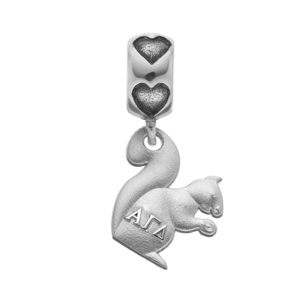 LogoArt Sterling Silver Alpha Gamma Delta Sorority Squirrel Charm