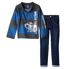 Only Kids Apparel 'Monster Truck Rally' Rugby Henley & Jeans Set - Toddler Boy