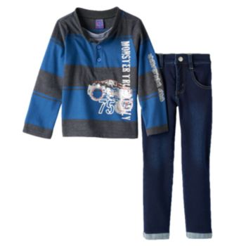 """Only Kids Apparel """"Monster Truck Rally"""" Rugby Henley & Jeans Set - Toddler Boy"""