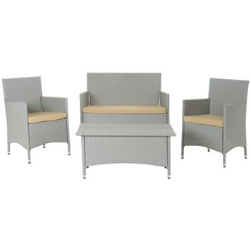 Safavieh Mojavi 4-piece Outdoor Wicker Furniture Set
