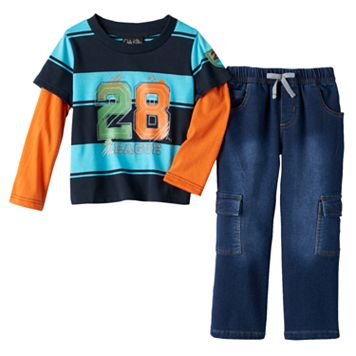 Only Kids Apparel Striped Tee & Cargo Jeans Set - Toddler Boy
