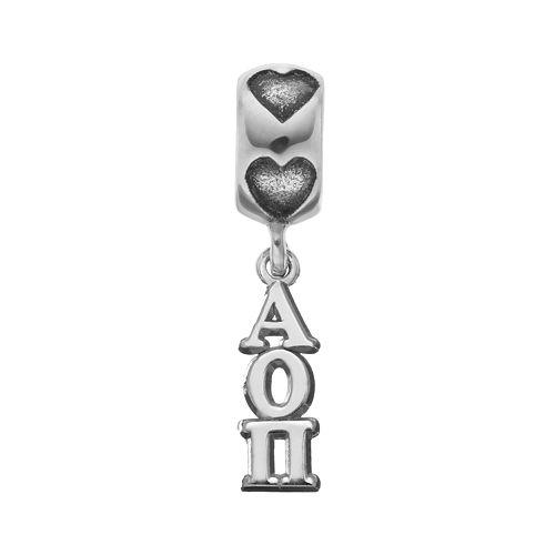 LogoArt Sterling Silver Alpha Omicron Pi Sorority Charm