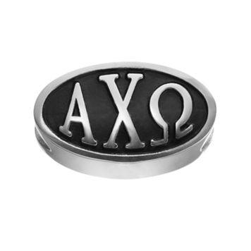 LogoArt Alpha Chi Omega Sterling Silver Oval Bead