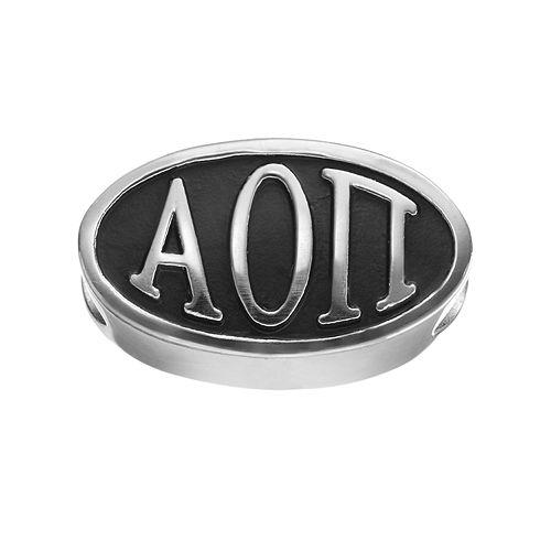 LogoArt Alpha Omicron Pi Sterling Silver Oval Bead