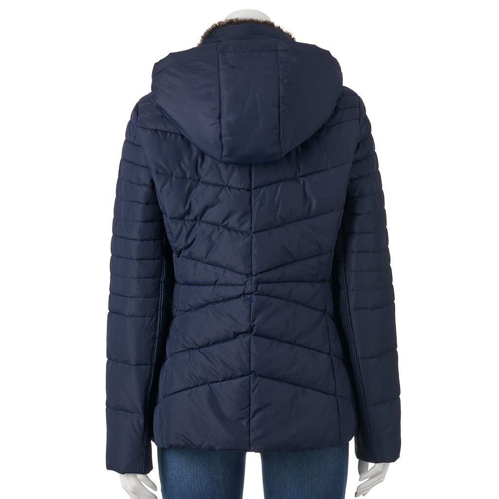 Women's Weathercast Hooded Chevron Quilted Puffer Jacket