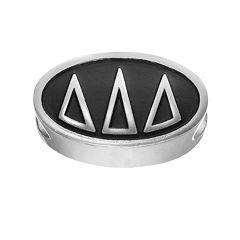 LogoArt Delta Delta Delta Sterling Silver Oval Bead