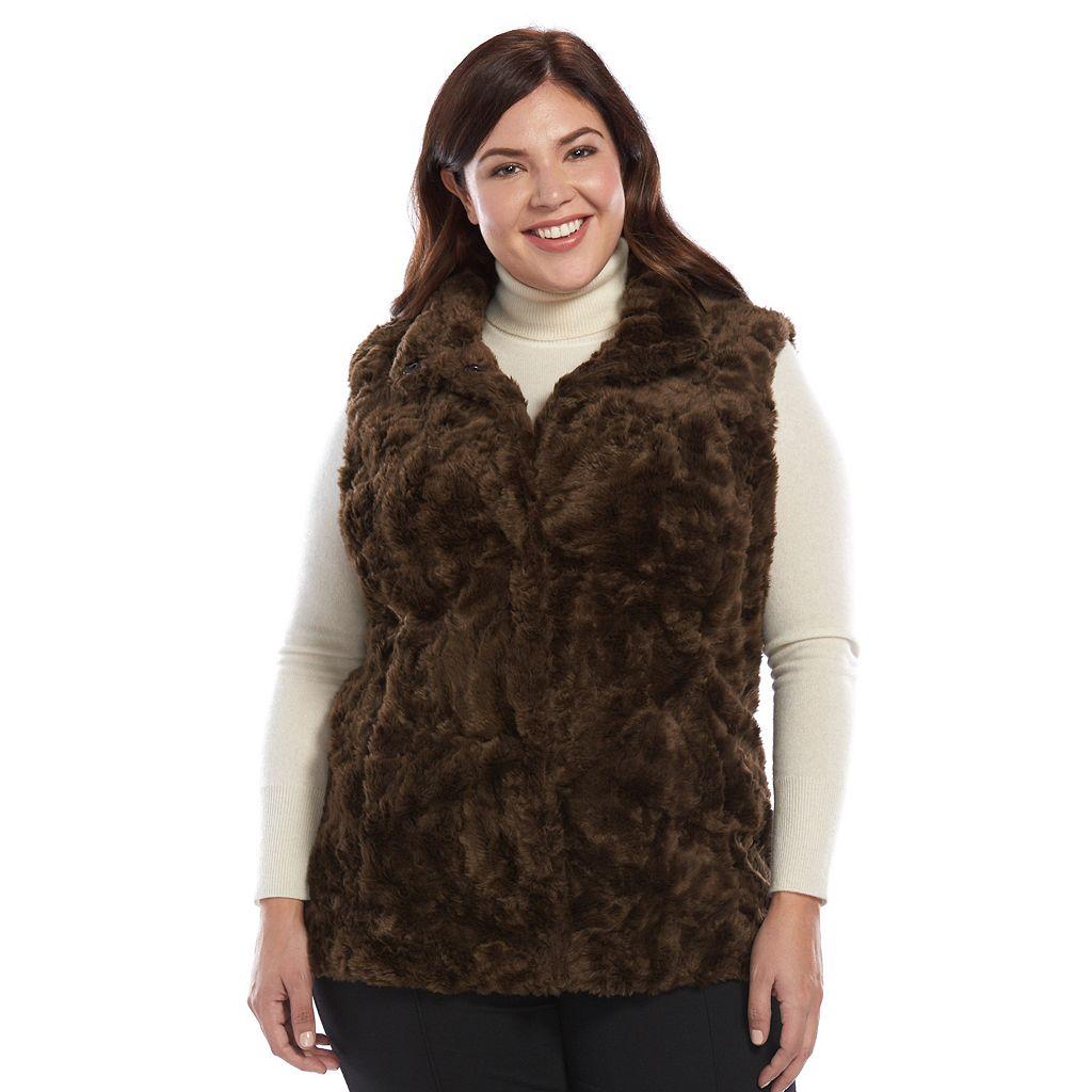 Plus Size Weathercast Faux-Fur Vest
