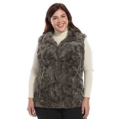 Plus Size Weathercast Faux-Fur Vest